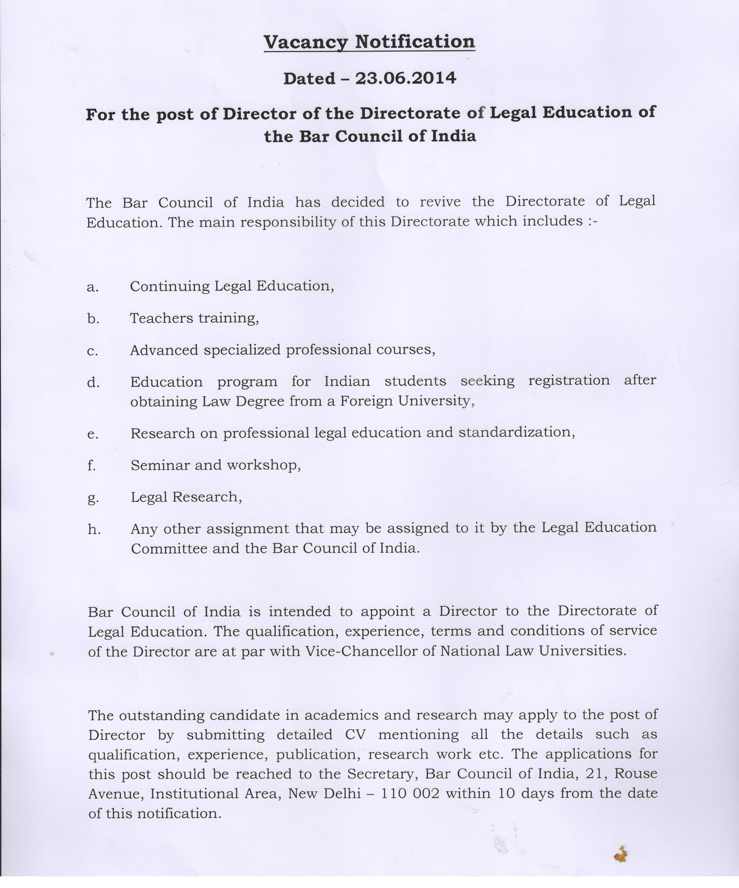 For The Post Of Director Directorate Legal Education Bar Council India