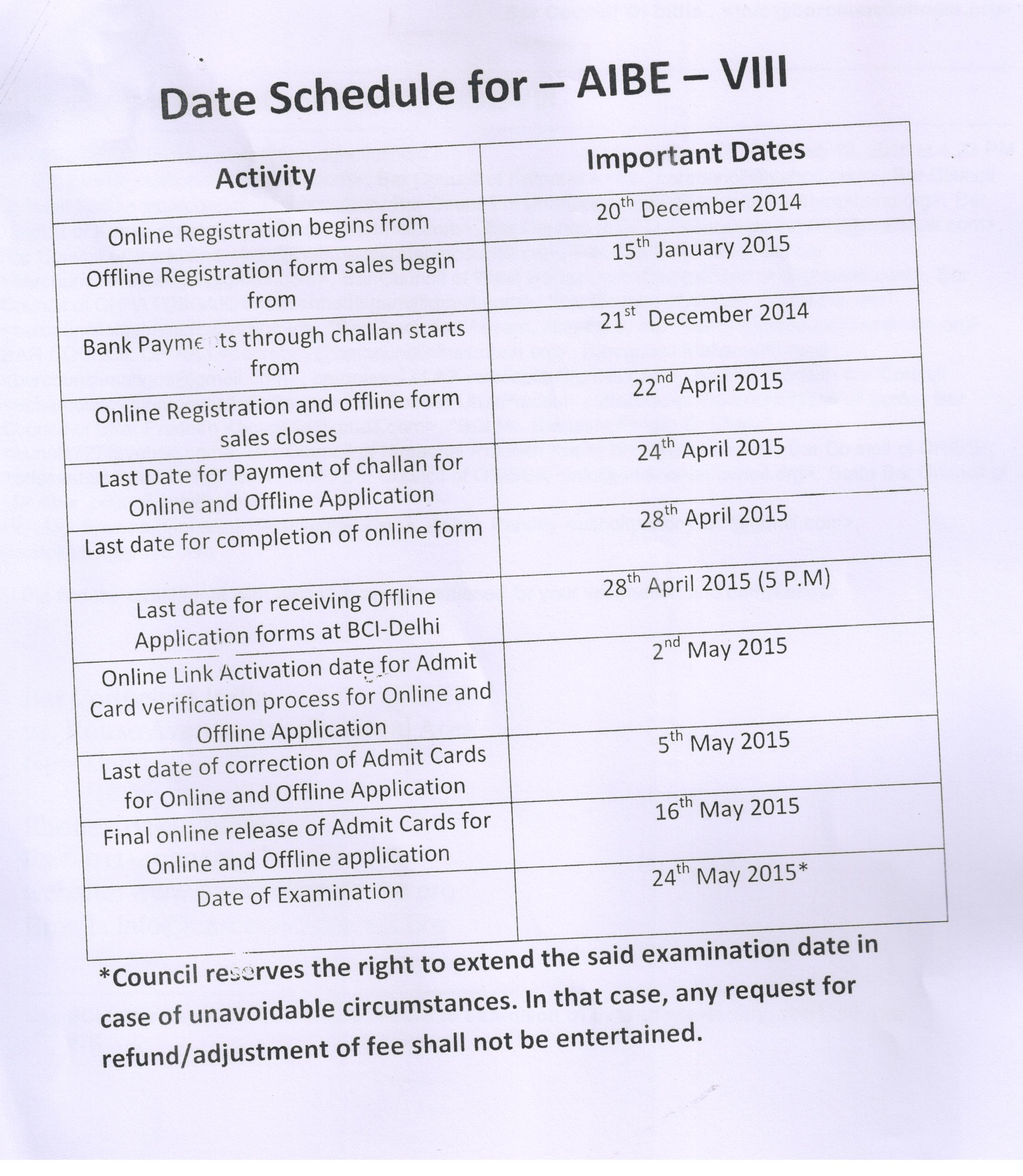 AIBE VIII Date Schedule The Bar Council Of India